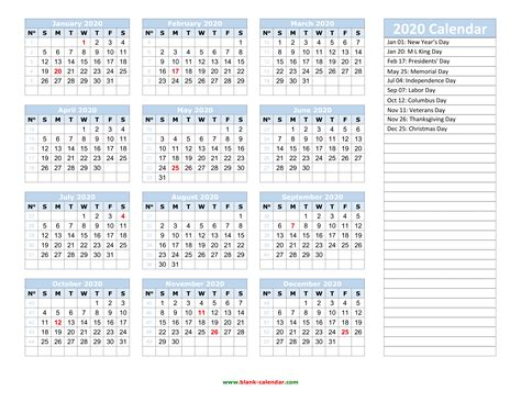 2020 Yearly Calendar Templates Printable Free