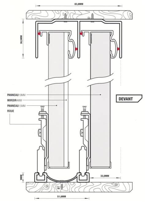 kit rail pour porte coulissante placard 3 table