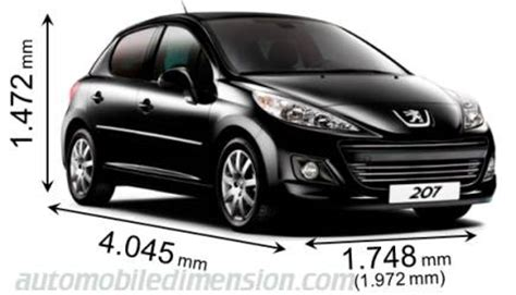dimensions of peugeot cars showing length width and height - Dimensions Peugeot 207