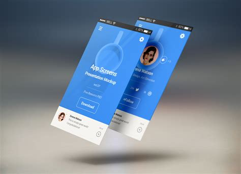 Just upload an image, and your mockup is ready in seconds. Free Mobile App Screens Presentation Mockup PSD - Good Mockups