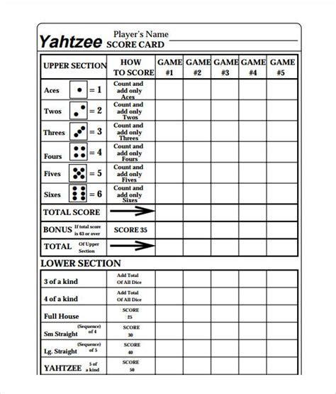 yahtzee score card yahtzee score card yahtzee