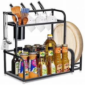 2, Tier, Kitchen, Countertop, Spice, Rack, Organizer, Cabinet, Shelves, Holder, Wall, Mounted, Stainless