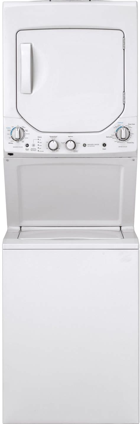 ge unitized spacemaker stack laundry white  white gudgssmww friedmans appliance