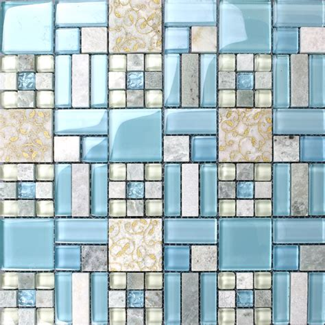 Blue Mosaic Tiles Bathroom by Backsplash Tiles Kitchen Blue Glass Blend Mosaic
