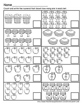 apple counting math worksheets  janet lee teachers pay