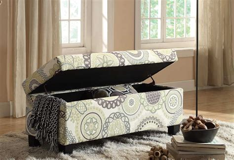 homelegance claire lift top storage bench floral fabric
