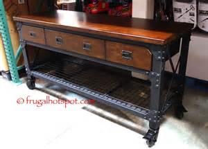 costco kitchen island costco whalen industrial metal wood workbench 299 99 frugal hotspot