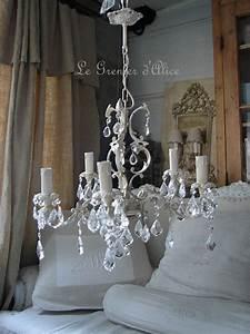 Lustre à Pampilles : lustre 5 branches patine lin pampilles cristal decoration de charme shabby photo de lustres ~ Teatrodelosmanantiales.com Idées de Décoration