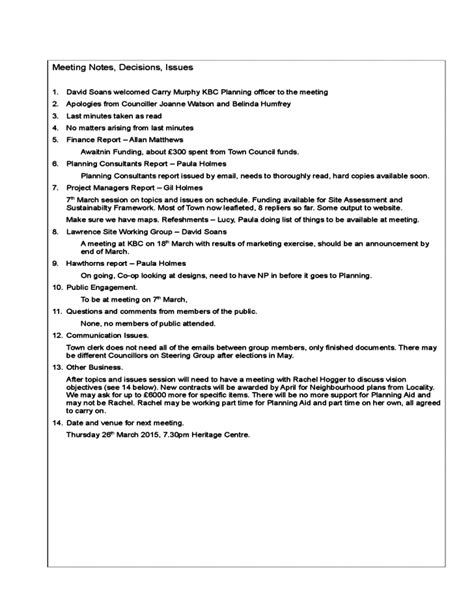 project meeting minutes template sample