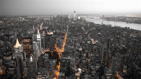 Download New York City by Night HD wallpaper for 2560 x