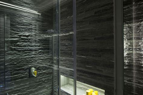 Bathroom, Lighting, Stone Tiles, Glass Walls, Elegant