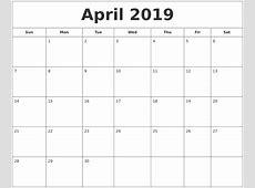 April 2019 Printable Calendar