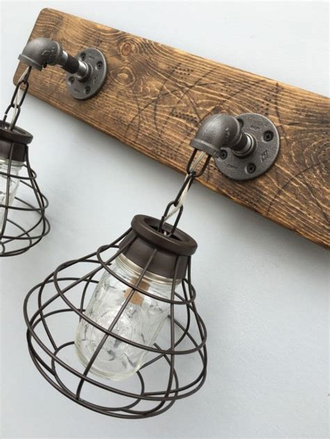 Rustic Bathroom Light Fixtures vanity light fixture 2 jar light fixture with shade