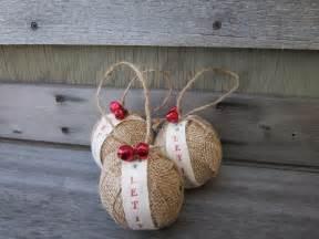rustic christmas burlap ornaments jingle bells let it snow