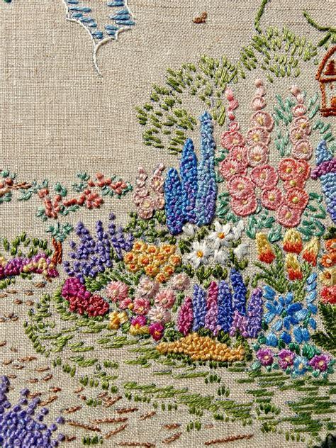 a vintage embroidered garden a saucy stitch