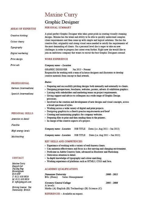 Exle Of Graphic Designer Cv by Graphic Design Resume Designer Sles Exles Description References Visual Work Skill