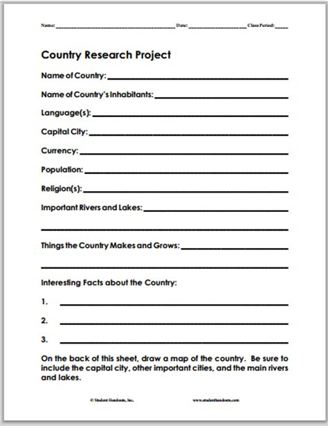 country research project worksheet is free to print pdf