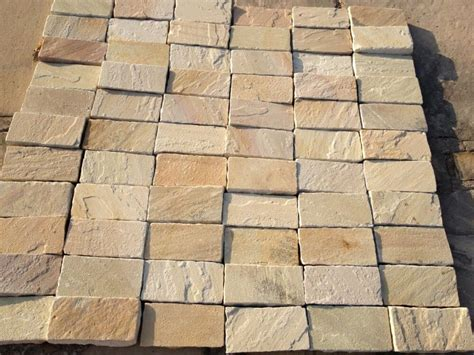 White Paving Stones by Mint Fossil Indian Sandstone Cobbles Setts Dramione