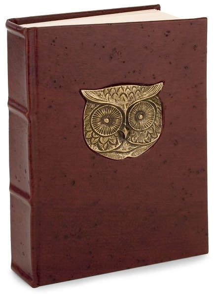 barnes and noble journals metal owl brown italian leather thick lined journal