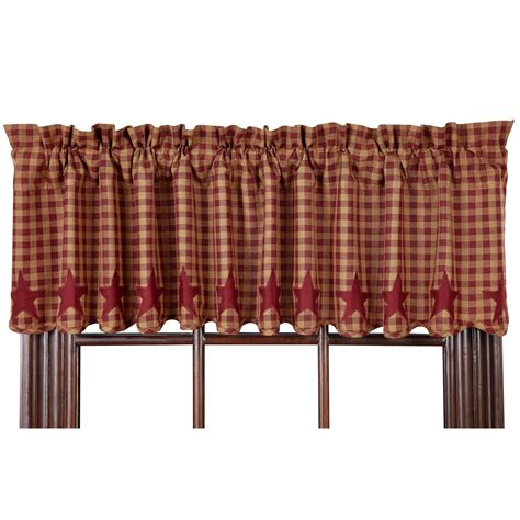 Country Drapes - and check scalloped country curtain valance navy