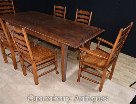 farm table dining set oak refectory table set 6 ladderback chairs farmhouse