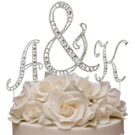 vintage swarovski crystal monogram wedding cake topper set