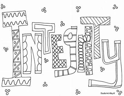 Coloring Doodle Alley Word Honesty Integrity Sheets