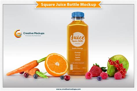 Display your design in a more efficient way on this mockup of a bottle with berry juice. Square Juice Bottle Mockup ~ Product Mockups ~ Creative Market