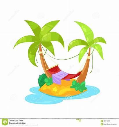 Sunbed Umbrella Palm Tropical Ocean Island Under