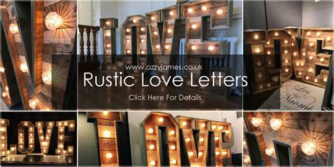 rustic love sign hire ozzy james parties