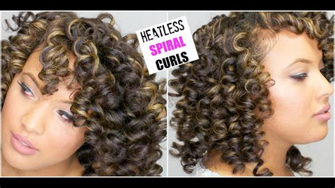 The Perfect Spiral Curls On Dry Natural Hair || Heatless