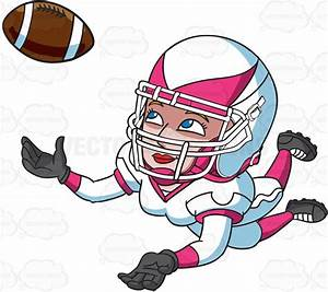 A Female Football Player Catching The Ball Vector Clip Art ...