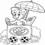 Ice Cream Coloring Pages Selling Boy Surfnetkids Candy Summer Fun Vegetable sketch template