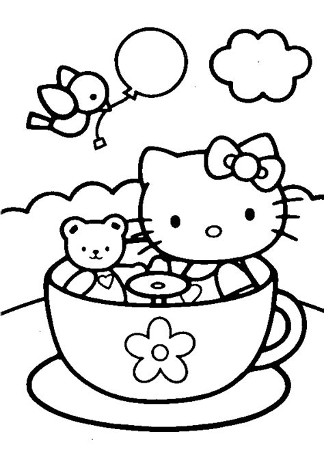 kitty   tea cup coloring pages  printable coloring pages  kids colouring pages