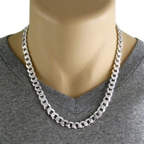 sterling silver cuban curb chain necklace mm gauge