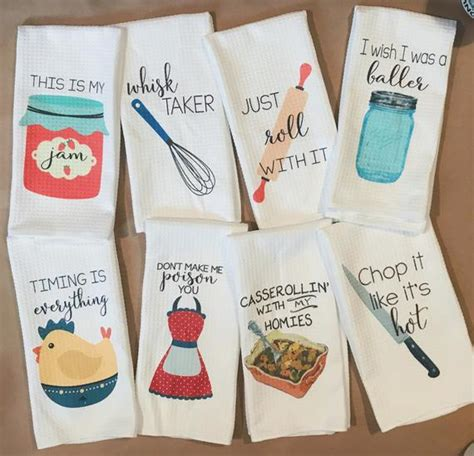 Funny Dish Towels Foodie Gift Unique Kitchen Towels Gift