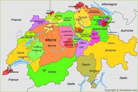 Carte Suisse by Carte Politique De La Suisse Carte Des Cantons De Suisse