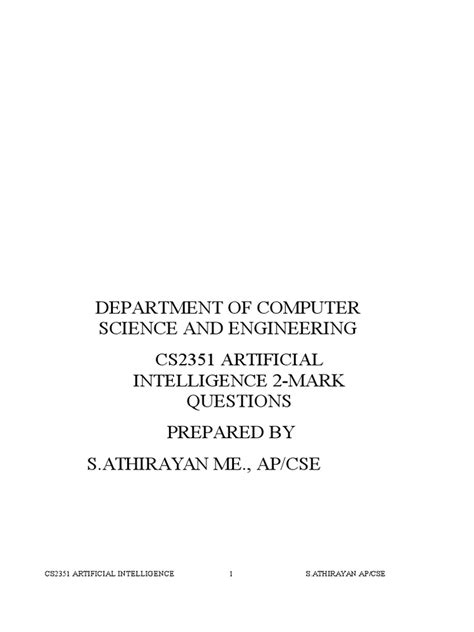 CS2351 ARTIFICIAL INTELLIGENCE 2 MARKS PDF