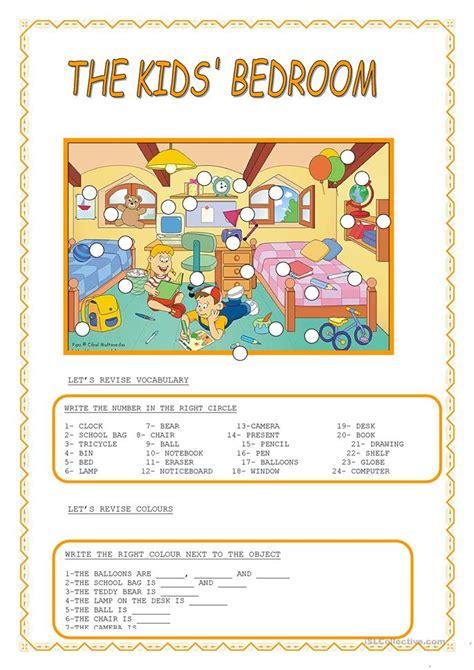 kidsbedroom worksheet  esl printable worksheets