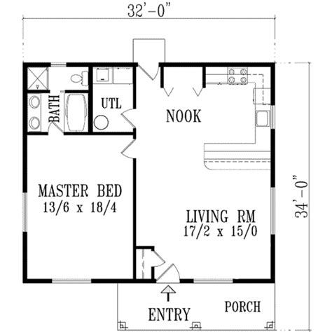 1 Bedroom House Floor Plans by Traditional Style House Plan 1 Beds 1 Baths 896 Sq Ft
