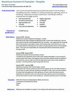 Cv Covering Letters Examples Warehouse Assistant Cv Example Lettercv Com