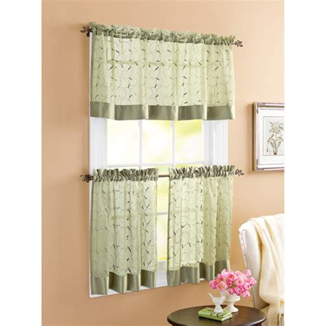 walmart kitchen cafe curtains better homes and gardens linen leaf 3pc kitchen curtain