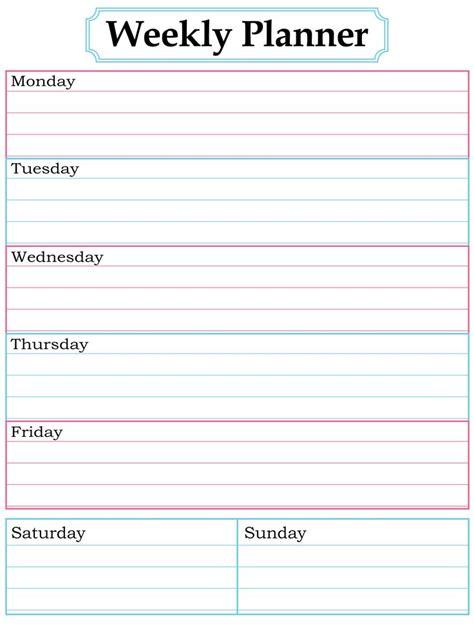 Weekly Planner Template Best 25 Weekly Planner Printable Ideas On