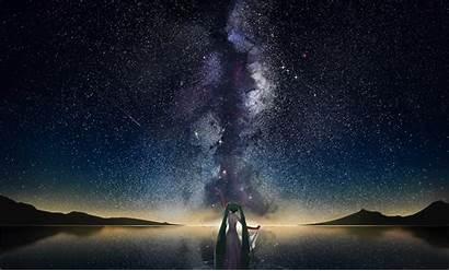 Shooting Stars Lake Horizon Space Mountain Wallpapers