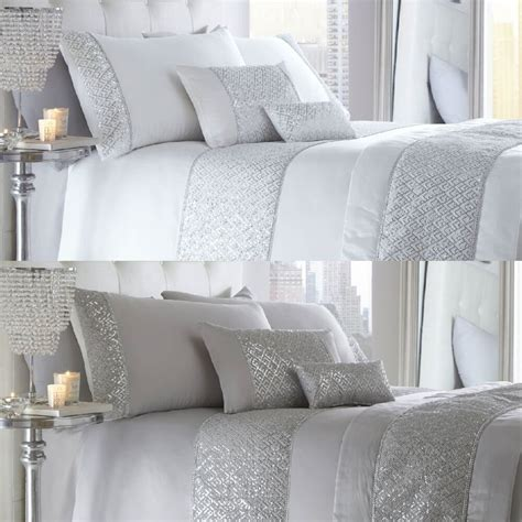 Coverlet Or Duvet by Luxury Diamante Trim Duvet Quilt Cover Bedding Set Shimmer