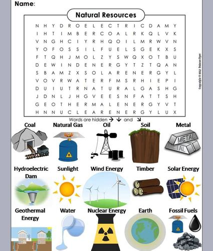 natural resources word search by sciencespot teaching resources