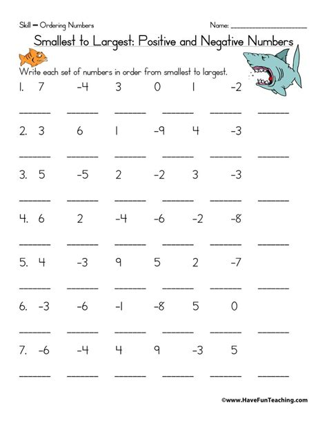 ordering positive and negative numbers worksheet