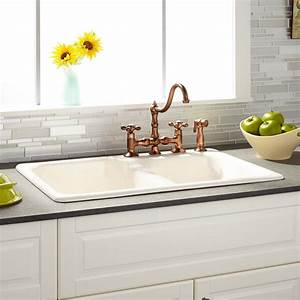 33quot elgin 60 40 bisque double bowl cast iron drop in for 40 inch farmhouse sink
