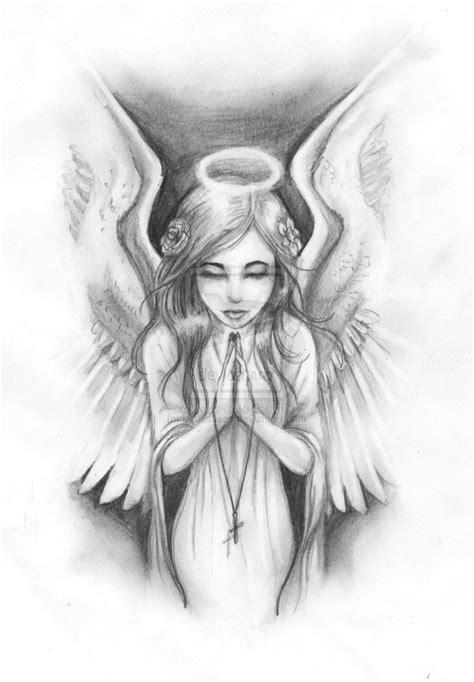 Guardian Angel Drawings In Pencil Easy Female Guardian