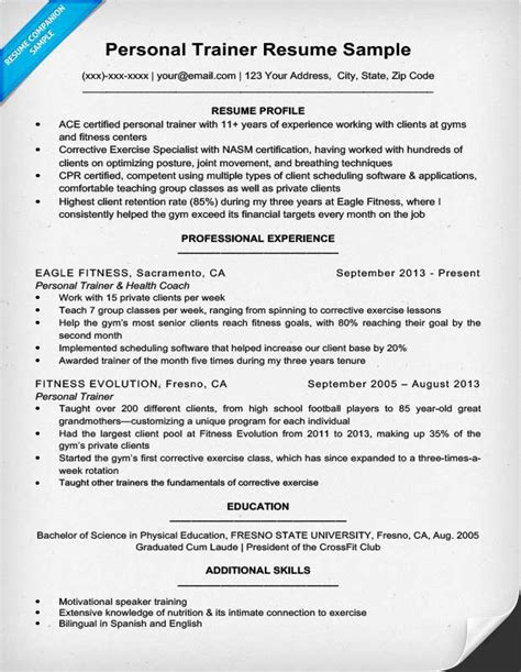 Chronological Resume Generator by Personal Trainer Resume Sle Writing Tips Resume